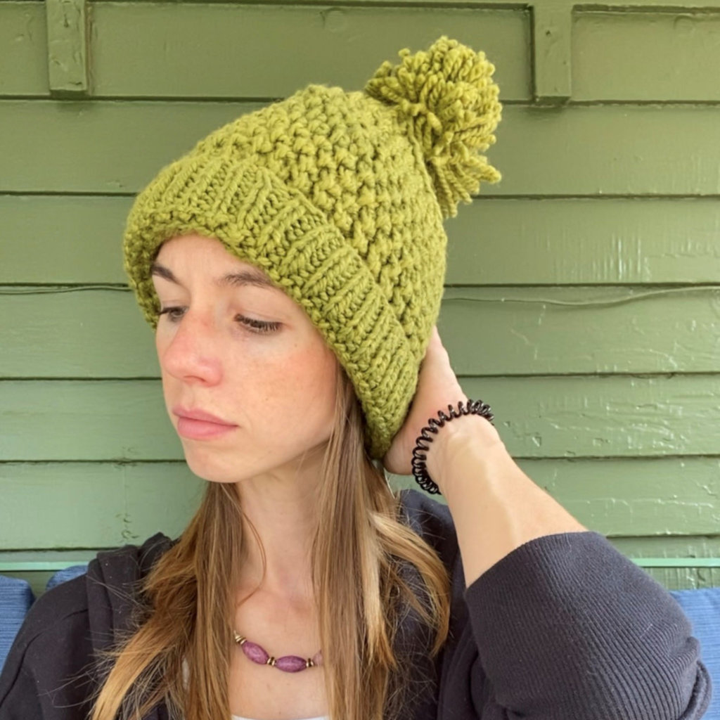 Creation Hive Jane Kenyan Merino Knit Wool Hat Olive