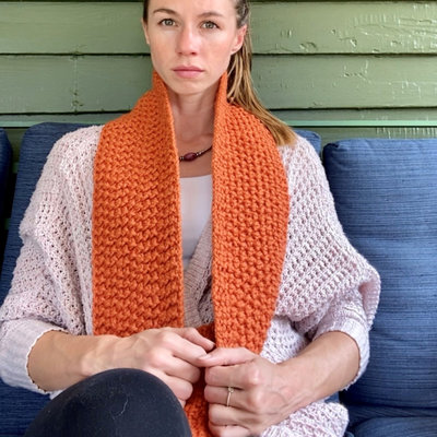 Creation Hive Jane Kenyan Merino Wool Knit Infinity Scarf Pumpkin
