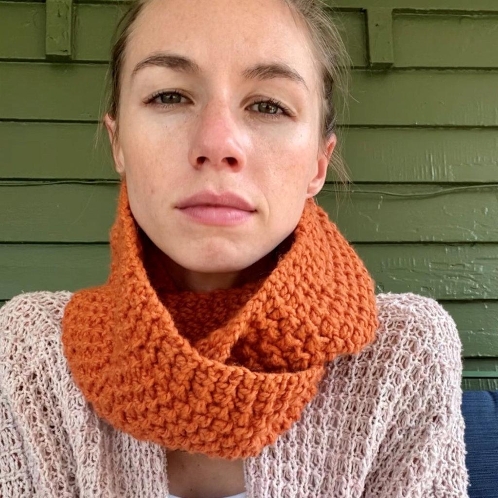 Creation Hive Jane Kenyan Merino Wool Knit Infinity Scarf Pumpkin