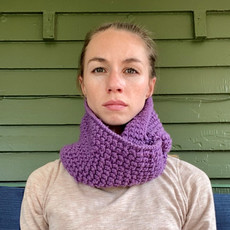 Creation Hive Jane Kenyan Merino Wool Knit Infinity Scarf Purple