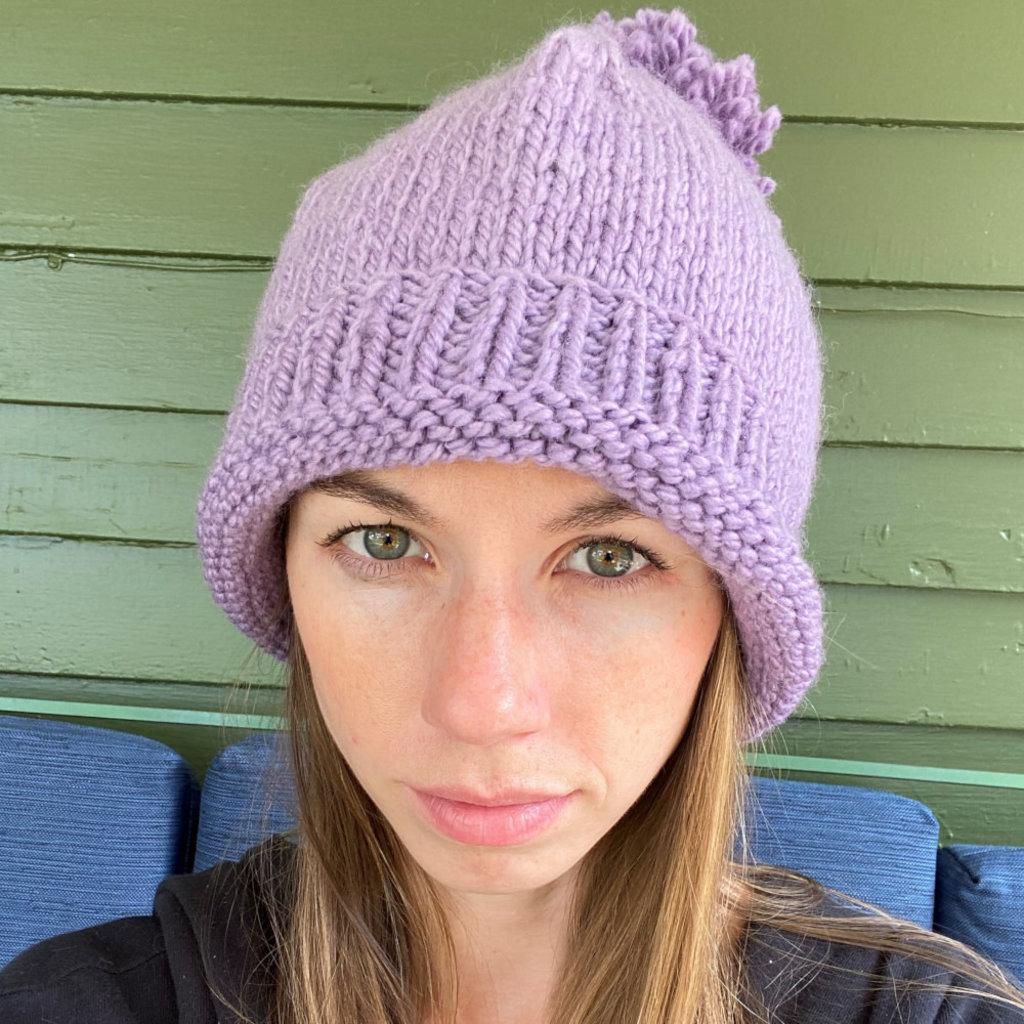 Creation Hive Prax Kenyan Merino Knit Wool Hat Purple