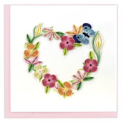 Quilling Card Floral Heart Wreath Quilled Card