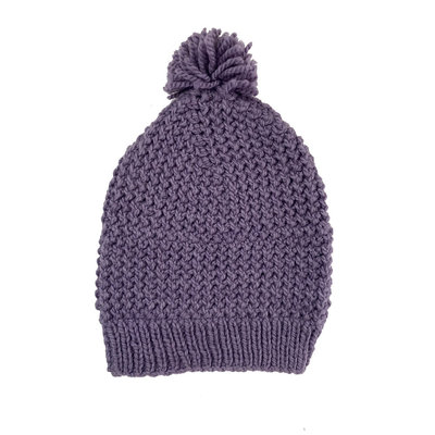 Creation Hive Jane Kenyan Merino Knit Wool Hat Purple