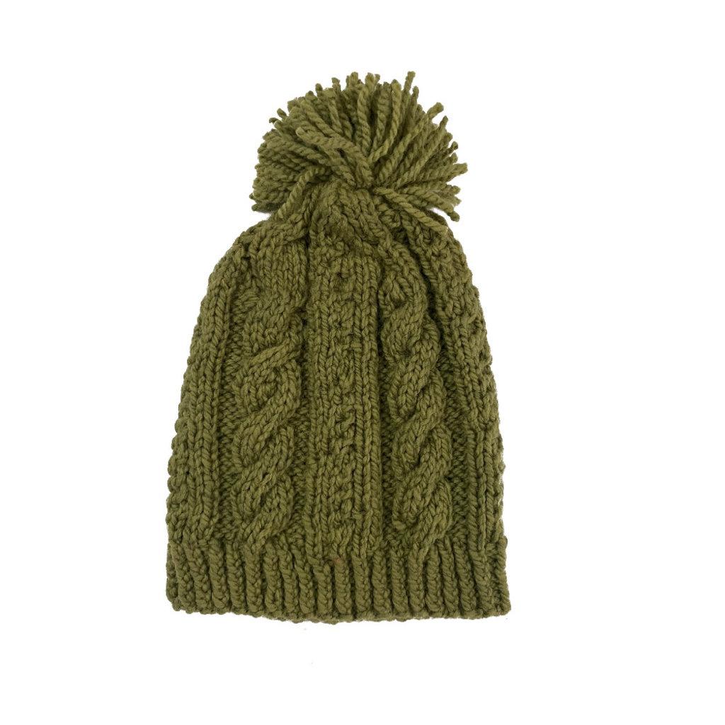Creation Hive Anne Kenyan Merino Knit Wool Hat Olive