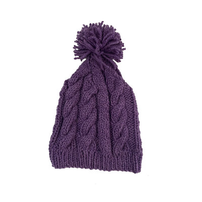 Creation Hive Anne Kenyan Merino Knit Wool Hat Purple