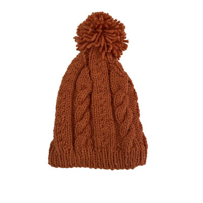 Creation Hive Anne Kenyan Merino Knit Wool Hat Pumpkin