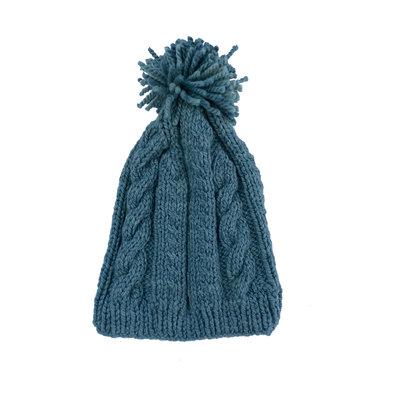 Creation Hive Anne Kenyan Merino Knit Wool Hat Blue