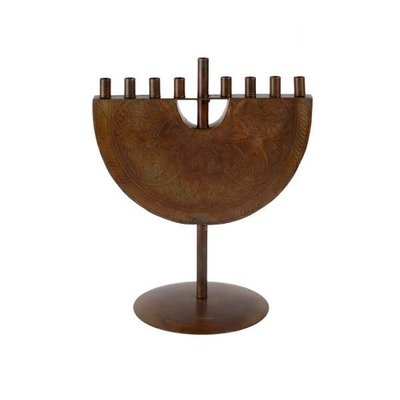 Ten Thousand Villages Engraved Iron Menorah