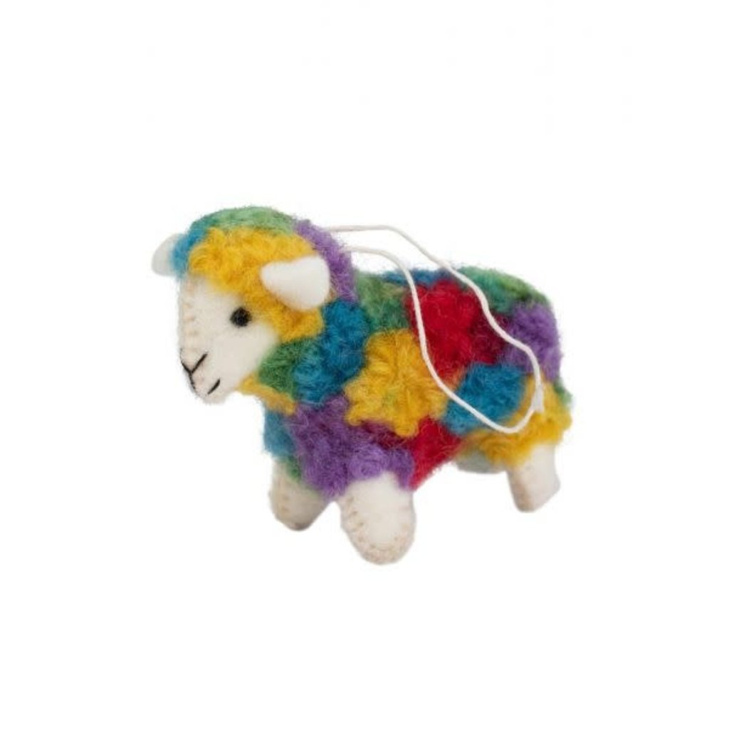 Ten Thousand Villages Colorful Wool Sheep Ornament