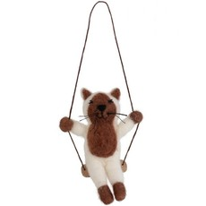 Ten Thousand Villages Cat on a Swing Ornament