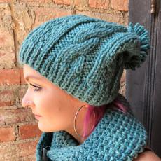 Creation Hive Anne Kenyan Merino Knit Wool Hat Green