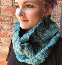 Creation Hive Anne Kenyan Merino Wool Knit Infinity Scarf Green