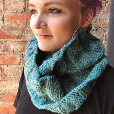 Creation Hive Anne Kenyan Merino Wool Knit Infinity Scarf Green