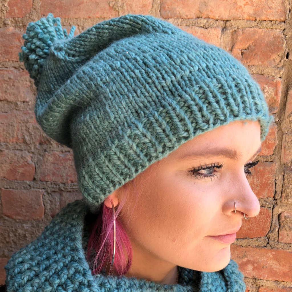 Creation Hive Prax Kenyan Merino Knit Wool Hat Green
