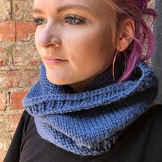 Creation Hive Prax Kenyan Merino Wool Knit Infinity Scarf Blue