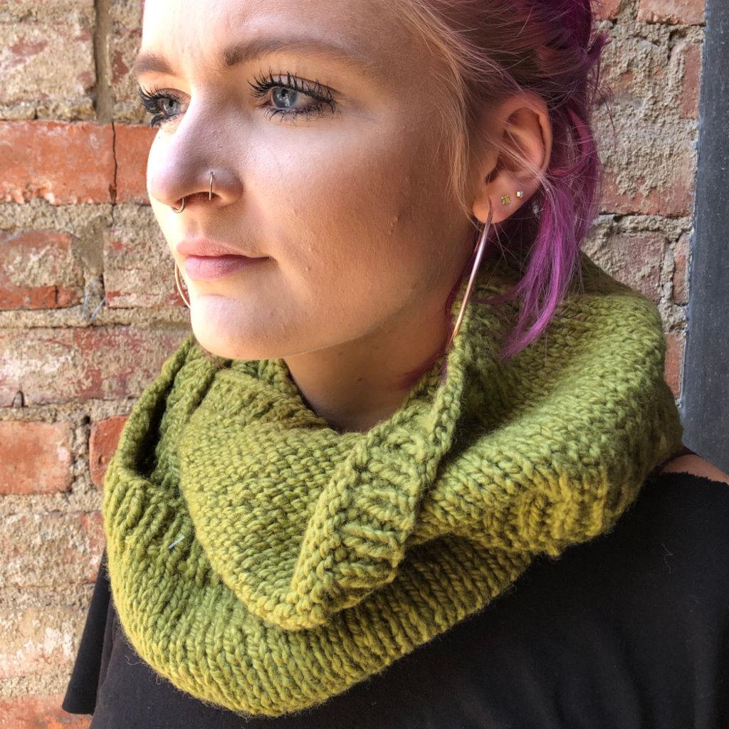 Creation Hive Prax Kenyan Merino Wool Knit Infinity Scarf Olive