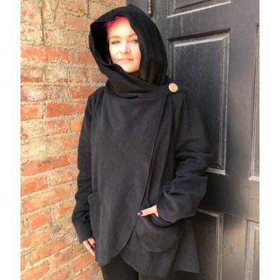 Ganesh Himal Fleece Jacket with Hood: Black