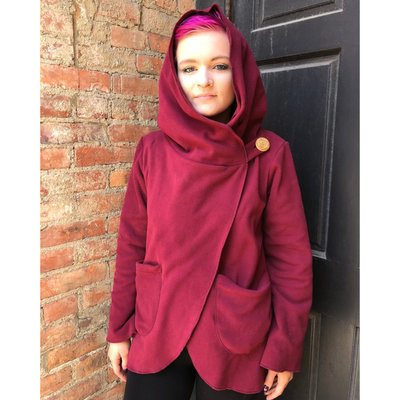 Ganesh Himal Fleece Jacket with Hood: Burgundy