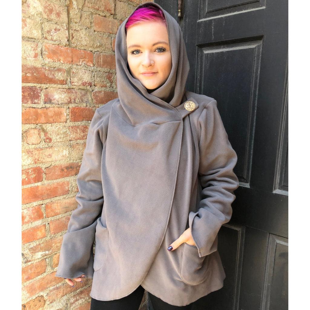 Ganesh Himal Fleece Jacket with Hood: Gray