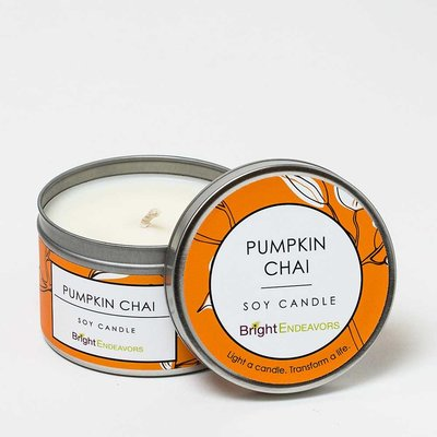 Bright Endeavors Pumpkin Chai Candle 8oz Tin