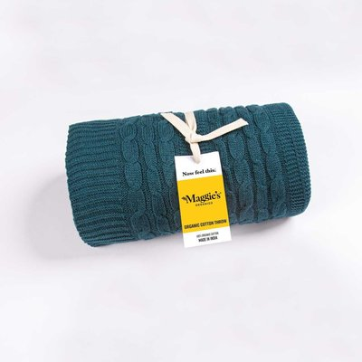 Maggie's Organics Organic Cotton Teal Throw Blanket