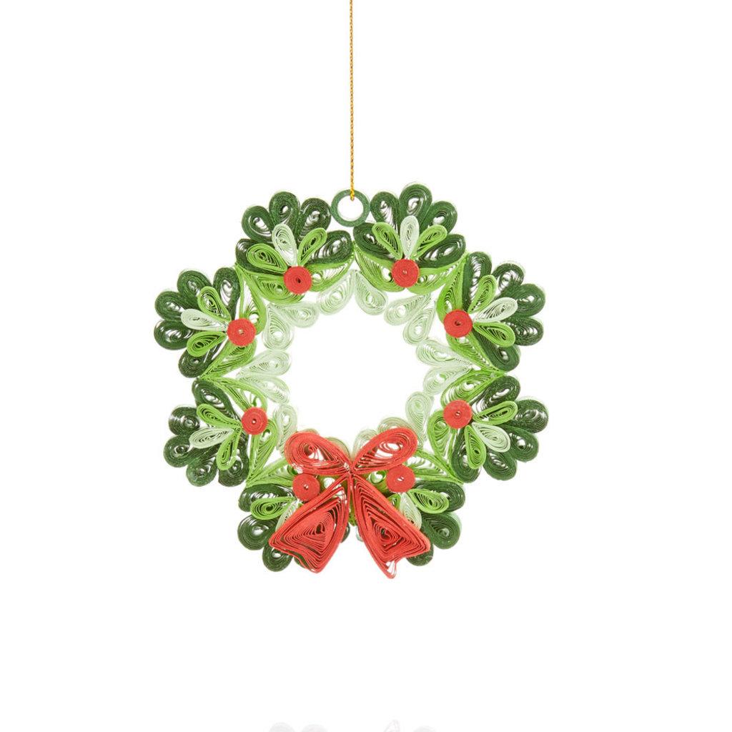 Serrv Quilled Paper Wreath Ornament