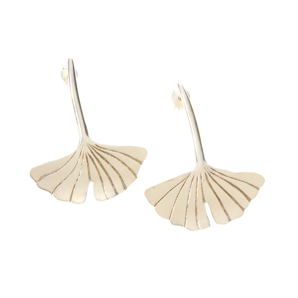 Serrv Gingko Drop Silver-Plated Earrings