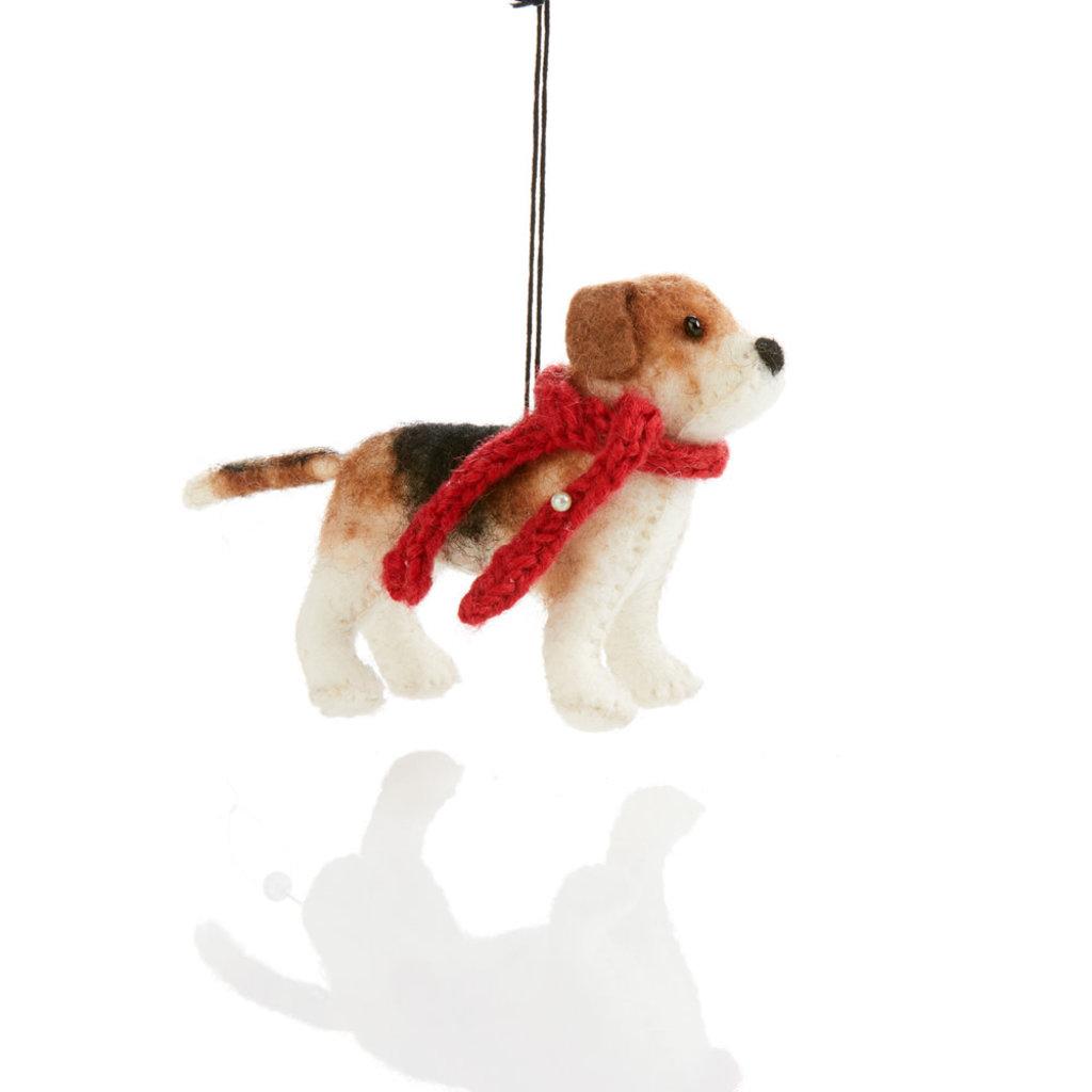 Serrv Beagle Felt Dog Ornament