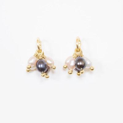 Mata Traders Pippa Brass & Pearl Stud Earrings