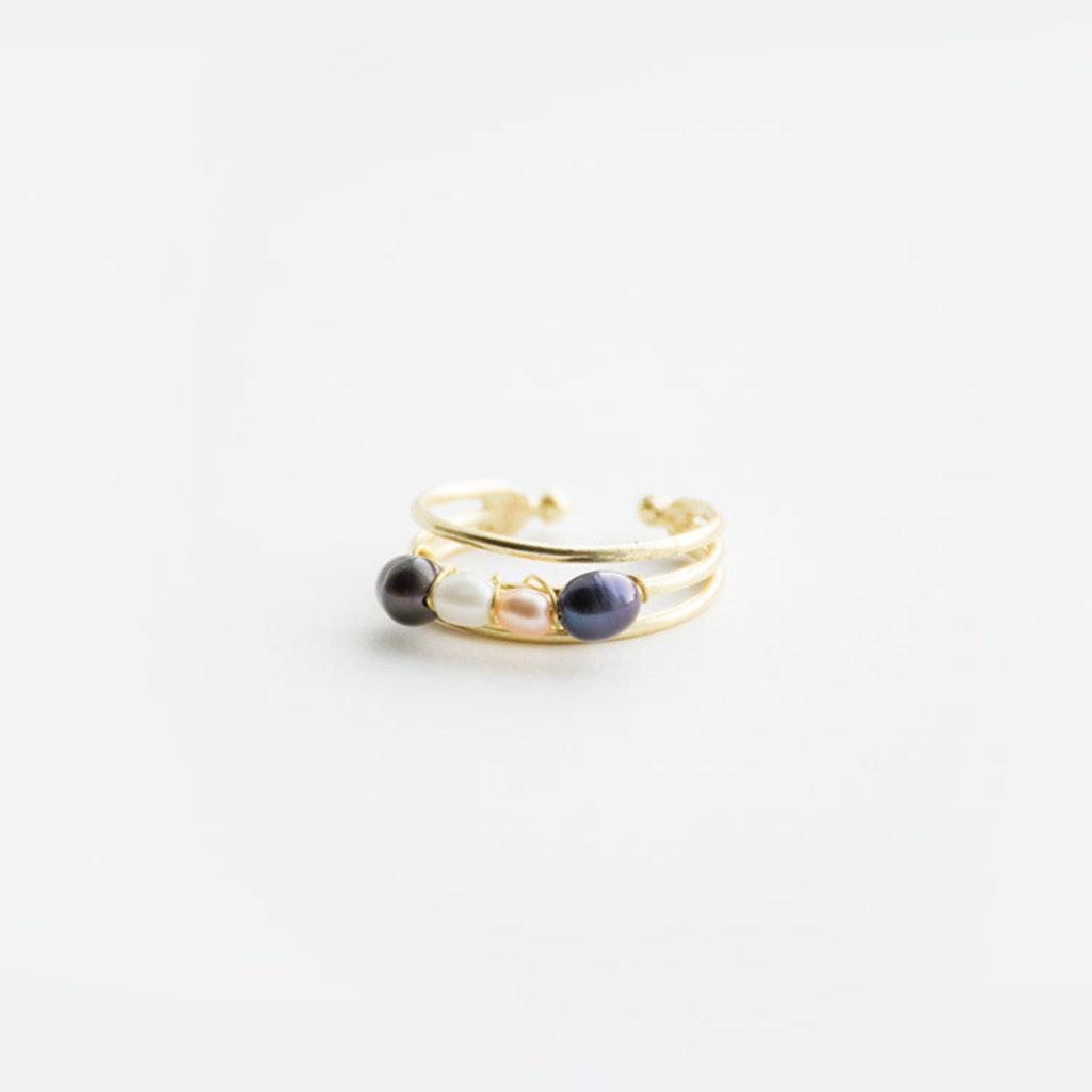 Mata Traders Pippa Brass & Pearl Ring