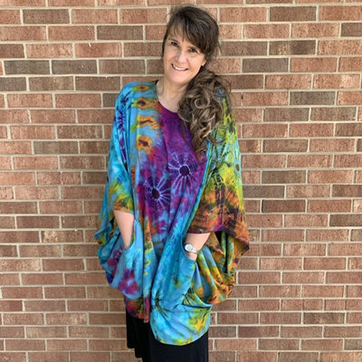 Unique Batik Tie Dye Pepper Poncho: Multi
