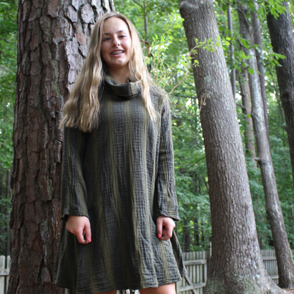 Unique Batik Gauzy Cowl Dress: Olive