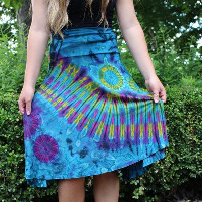 Unique Batik Tie Dye Dance Skirt: Turquoise