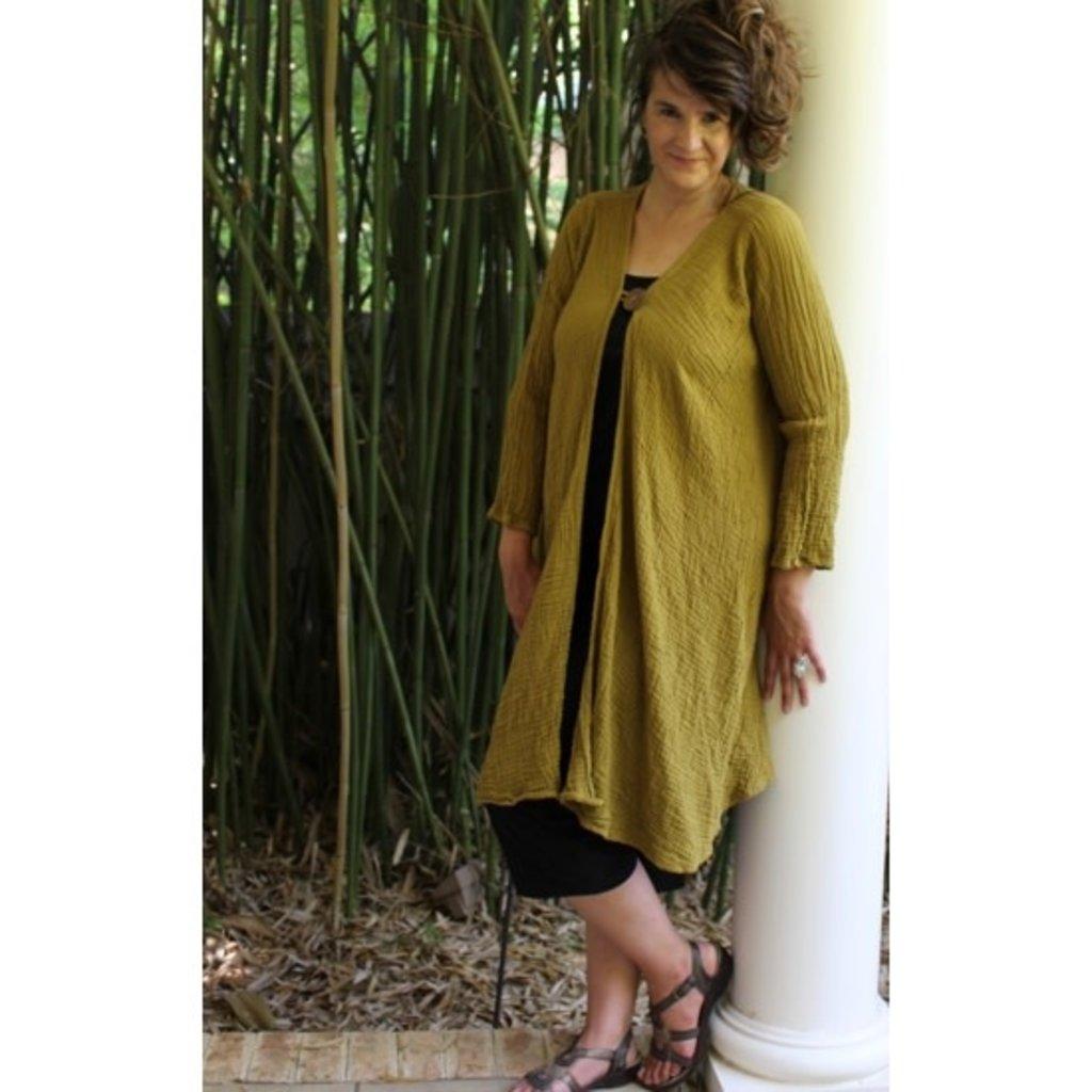 Unique Batik Gauzy Coco Button Jacket: Mustard