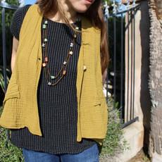 Unique Batik Gauzy Vest: Mustard