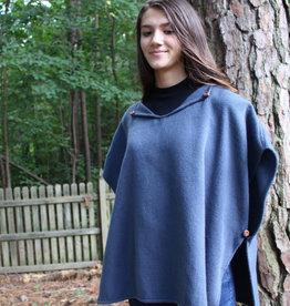 Unique Batik Fleece Poncho: Gray