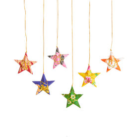 Serrv Recycled Sari Star Ornaments