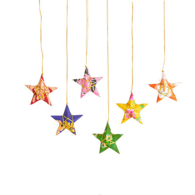 Serrv Recycled Sari Star Ornaments