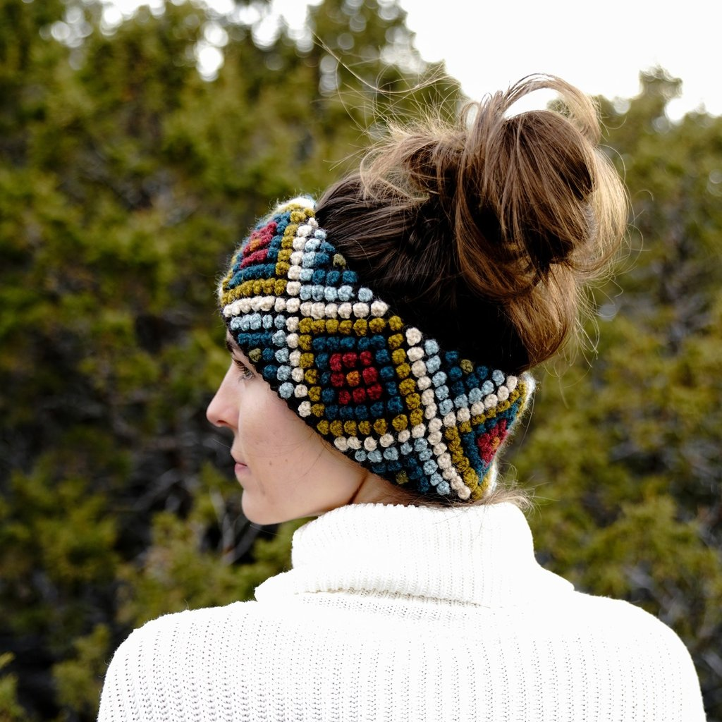 Andes Gifts Diamond Knit Ear Warmer: Olive