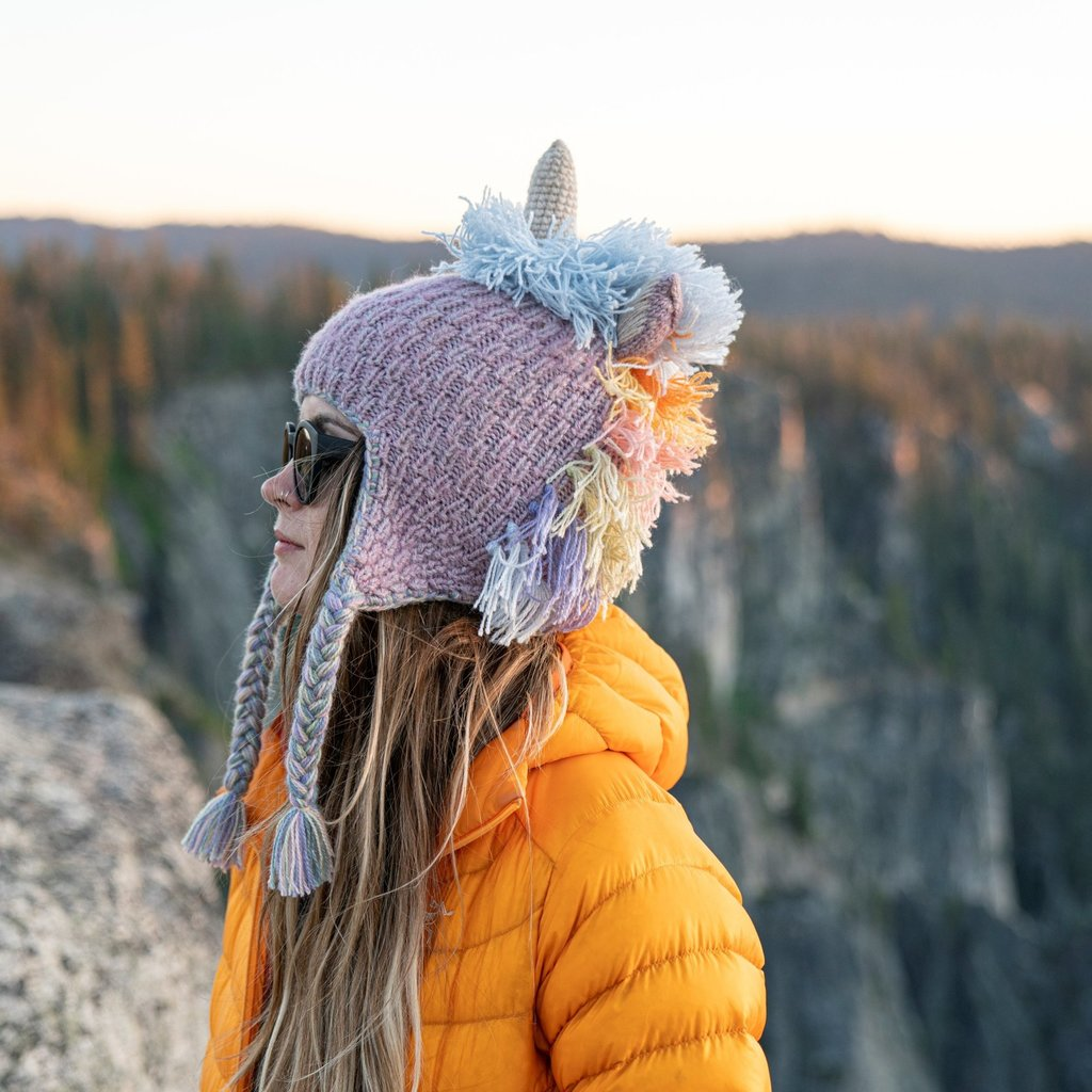 Andes Gifts Adult Animal Hat: Pastel Unicorn