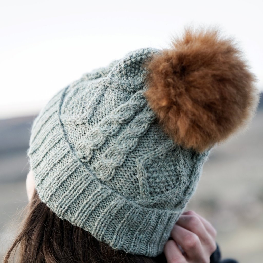 Andes Gifts Braided Knit Pom Hat: Sage
