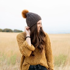 Andes Gifts Braided Knit Pom Hat: Natural