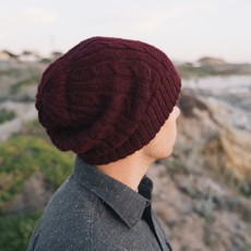 Andes Gifts Reversible Alpaca Cable Hat: Berry