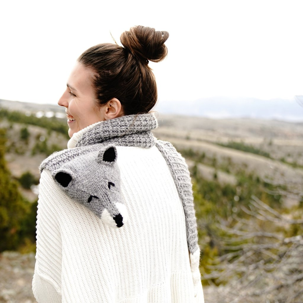 Andes Gifts Animal Winter Scarf: Wolf