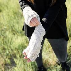 Andes Gifts Pom Pom Blended Wrist Warmers: Lavender