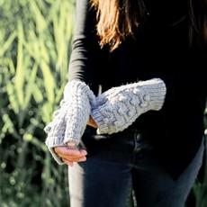Andes Gifts Pom Pom Blended Wrist Warmers: Rose