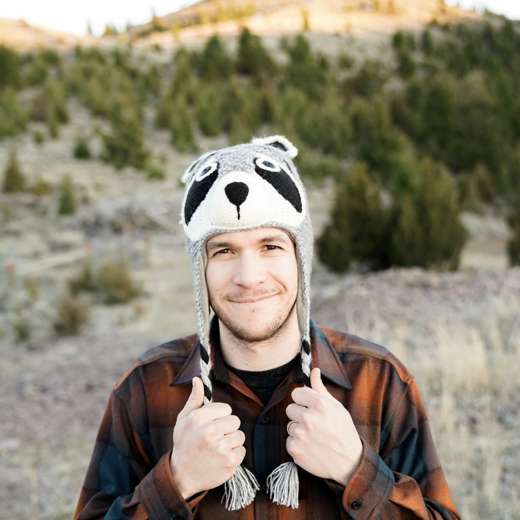 Andes Gifts Adult Animal Hat: Raccoon