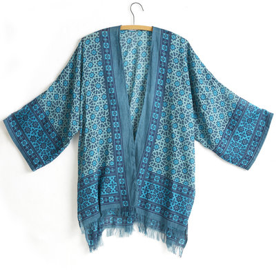 Serrv Blue Starburst Cotton Blockprint Kimono