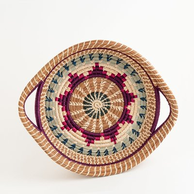 Mayan Hands Chumil Pine Needle and Wild Grass Basket Purple