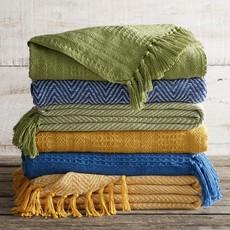 Serrv Cotton Rethread Gold Chevron Throw Blanket